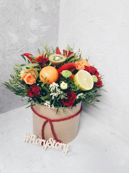 Коробка круглая (цилиндр) с цветами и овощами, фруктами 059