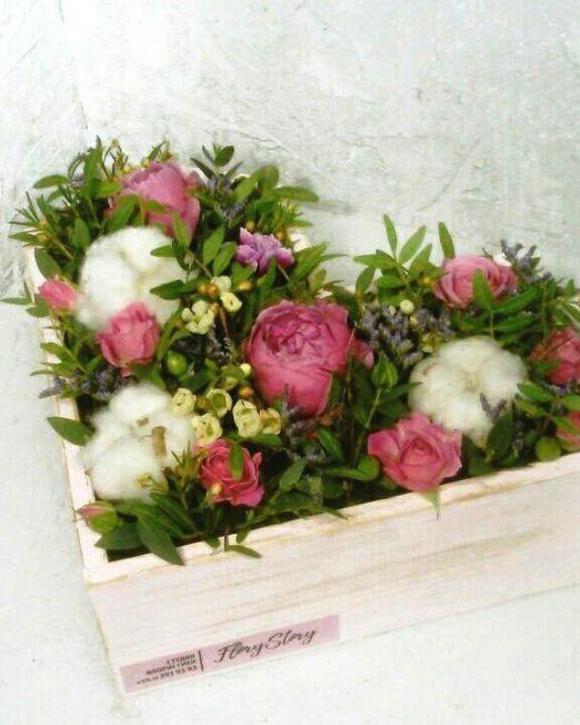 Сердце с цветами в деревянной основе 420