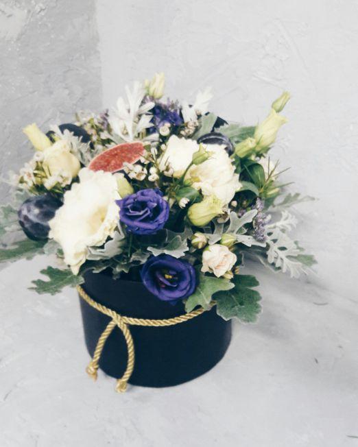 Коробка круглая (цилиндр) с цветами и фруктами 007