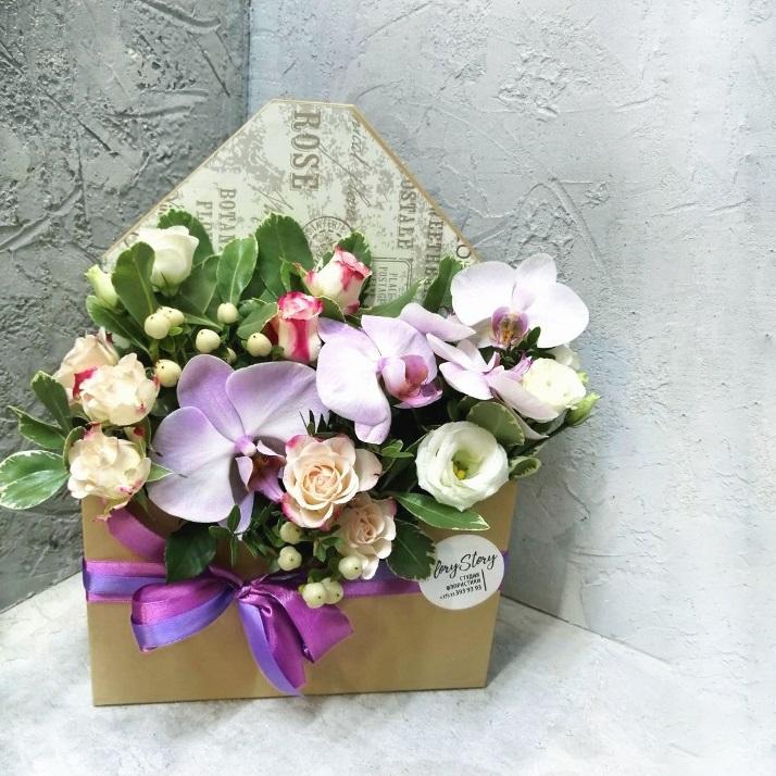 Коробка КОНВЕРТ с орхидеей 298