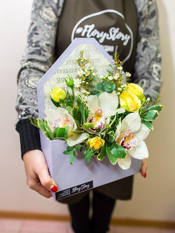 Коробка КОНВЕРТ с цветами 235