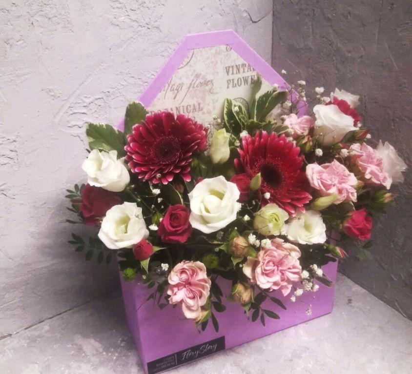 Коробка КОНВЕРТ с цветами 113