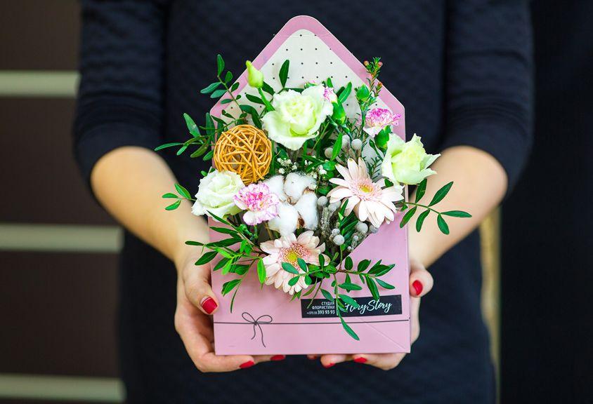 Коробка КОНВЕРТ с цветами 131