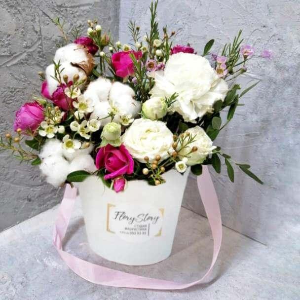 Сумочка с розами, гвоздикой, хлопком 251