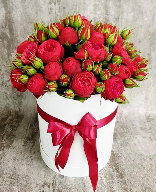 шляпняа коробка с красными пионовидными розами3