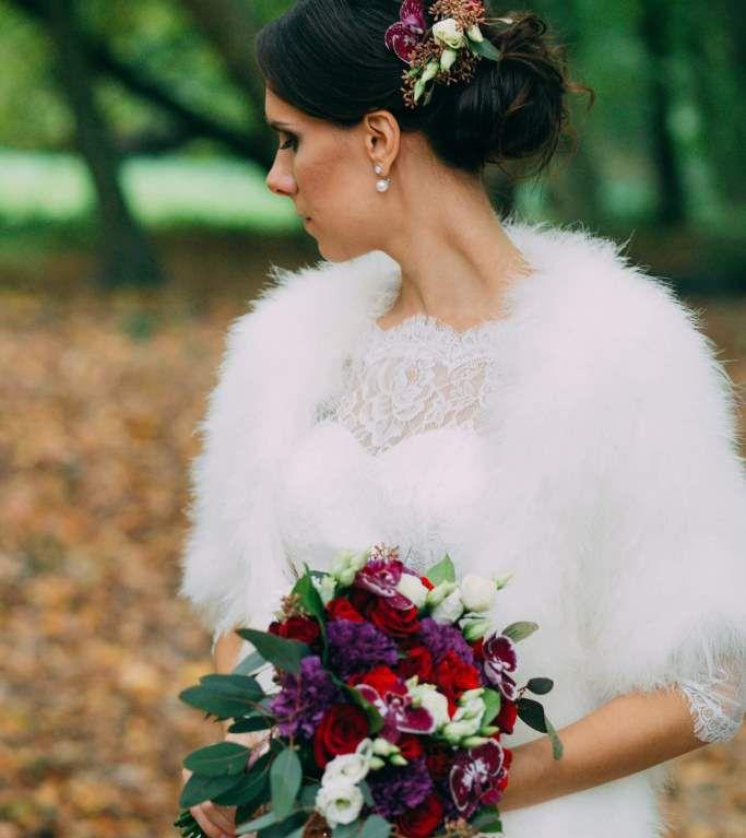 Свадебный букет невесты в филетовых тонах -712