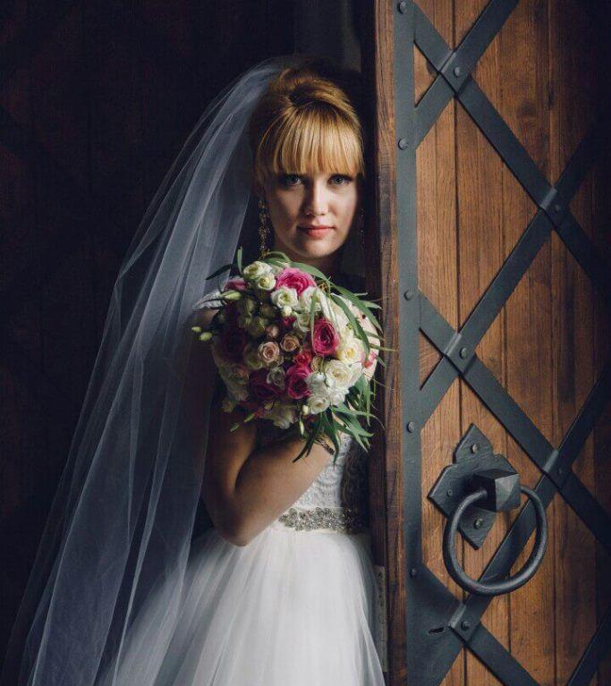 Свадебный букет невесты с пионовидной розой — 714