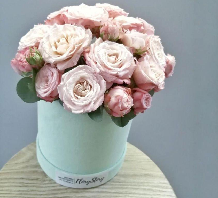 Бархатная коробка с пионовидной розой 437
