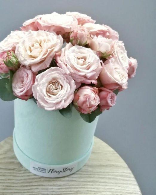 бархатная коробка с пионовидной розой