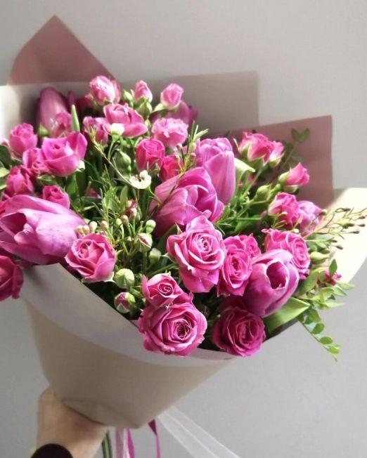букет из роз и тюльпанов _175_1