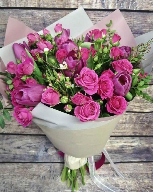 букет из роз и тюльпанов _175_2