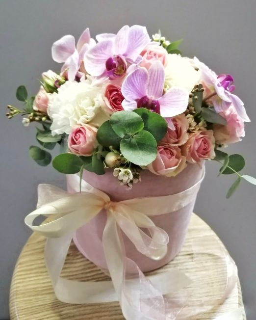 шляпная коробка бархатная с орхидеей (5) (1)