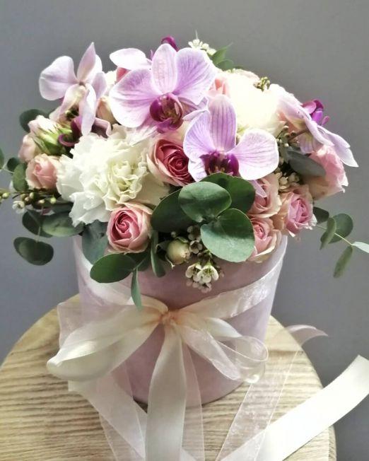 шляпная коробка бархатная с орхидеей (6) (1)
