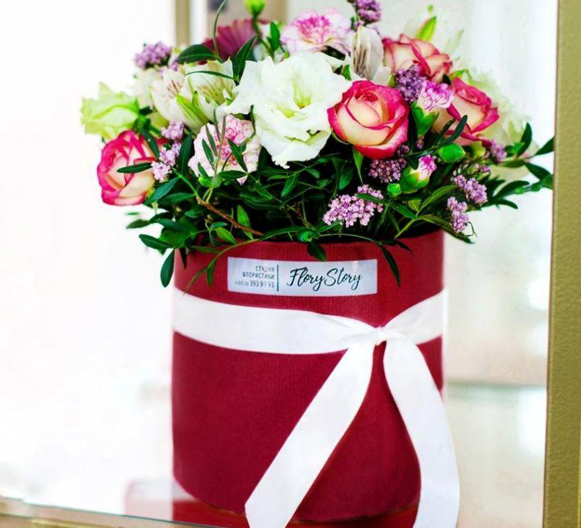 Коробка круглая (цилиндр) с цветами 128