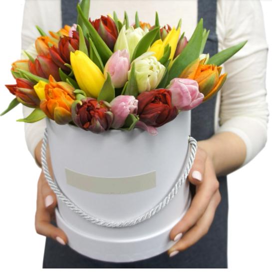 Коробка шляпная с тюльпанами размер L — 177