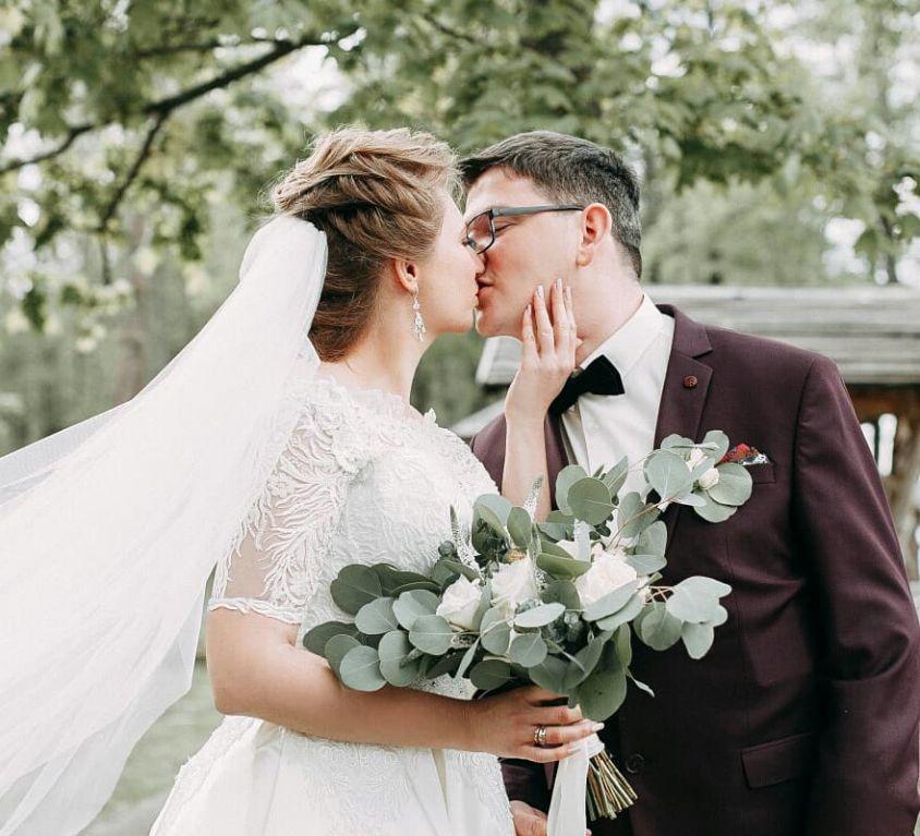 Свадебный букет невесты с пионовидной розой — 716