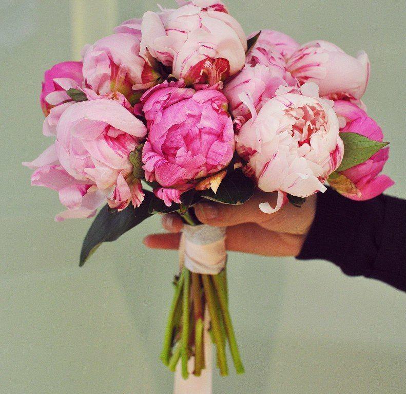 Свадебный букет невесты из розовых пионов — 727