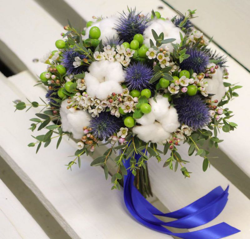 Свадебный букет невесты в голубых тонах — 720