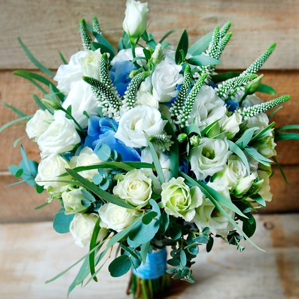 Свадебный букет невесты в голубых тонах — 722