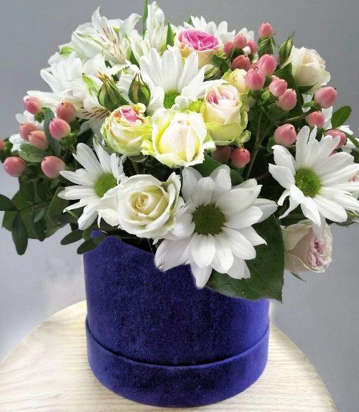коробка бархатная с цветами _11