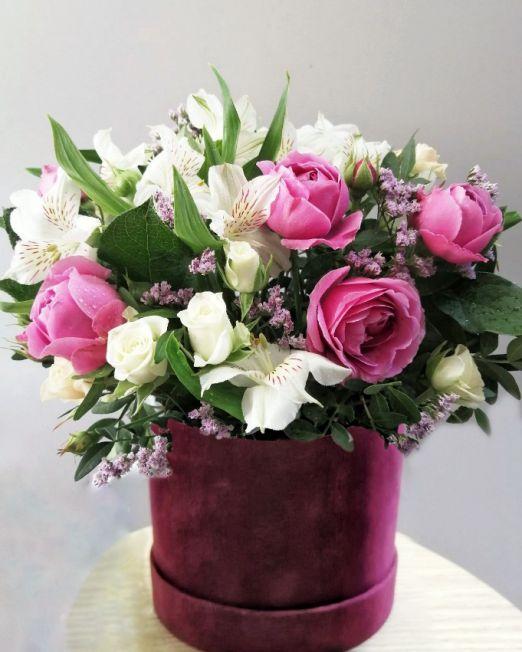 коробка бархатная с цветами _12