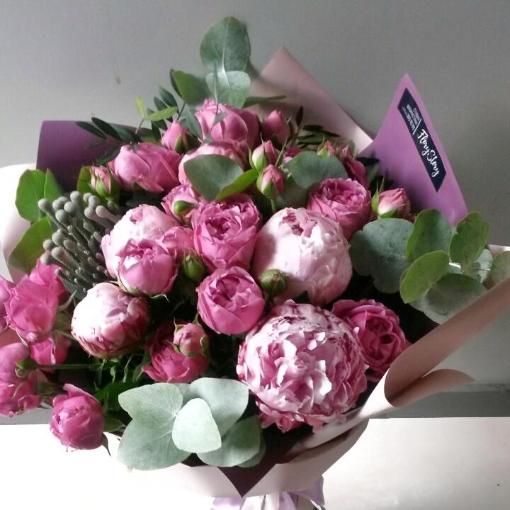 Букет из пионов розовых пионов и пионовидной розы 320