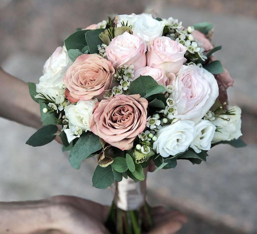 Свадебный букет невесты в кофейных оттенках — 735