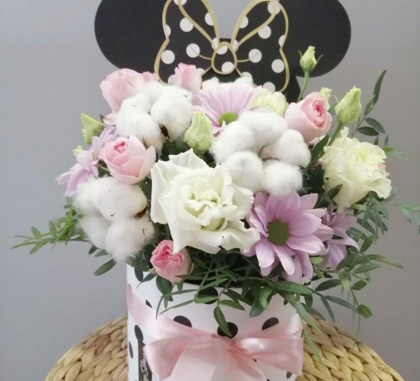 Коробка шляпная микки-маус с цветами 367