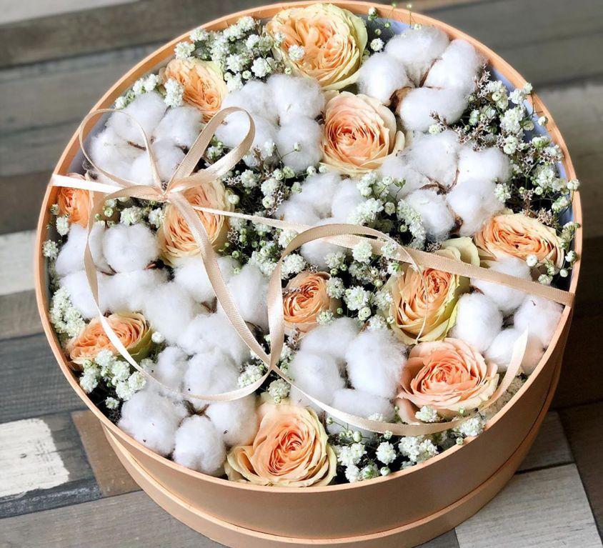 Коробка шляпная с цветами 354