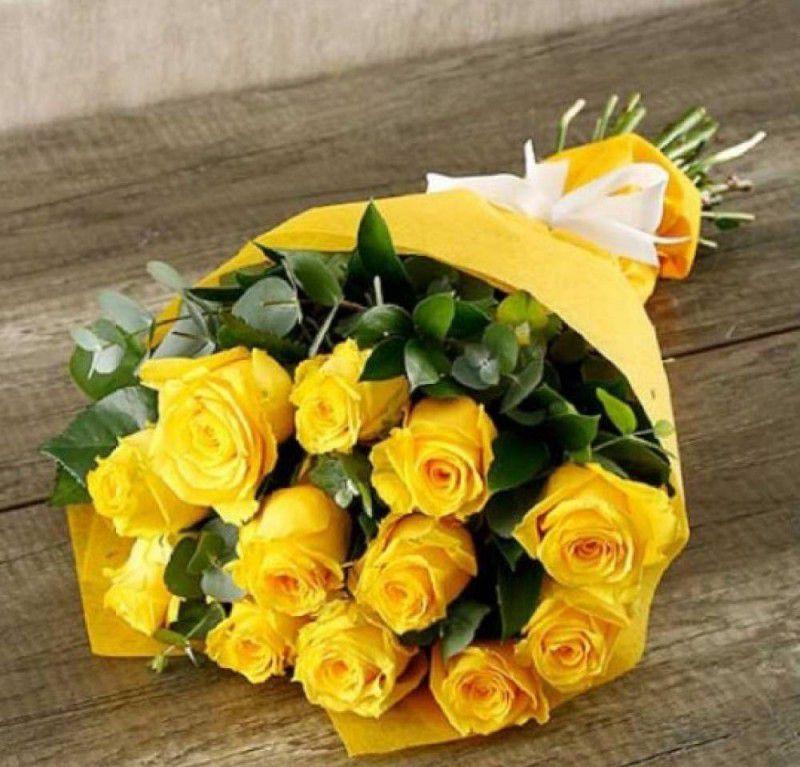 Букет из желтых роз и эвкалипта роз 530