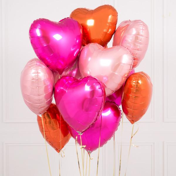 Набор из 11 фольгированных шаров (сердца) — 548