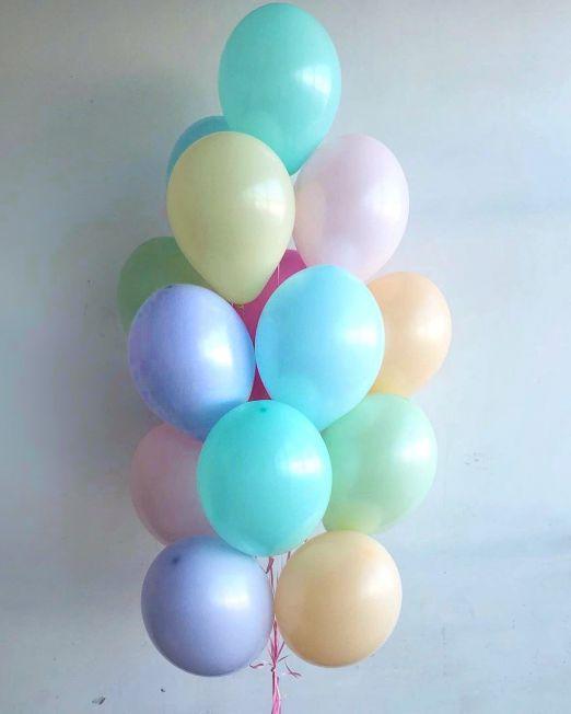 набор из 15латексных и гелиевых шаров цвет ассорти
