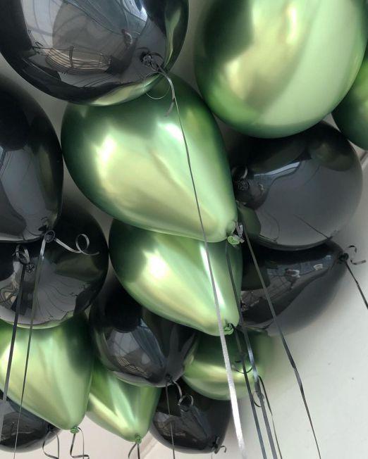 набор из 15 латексных гелиевых шаров цвет черный и зеленый метеллик