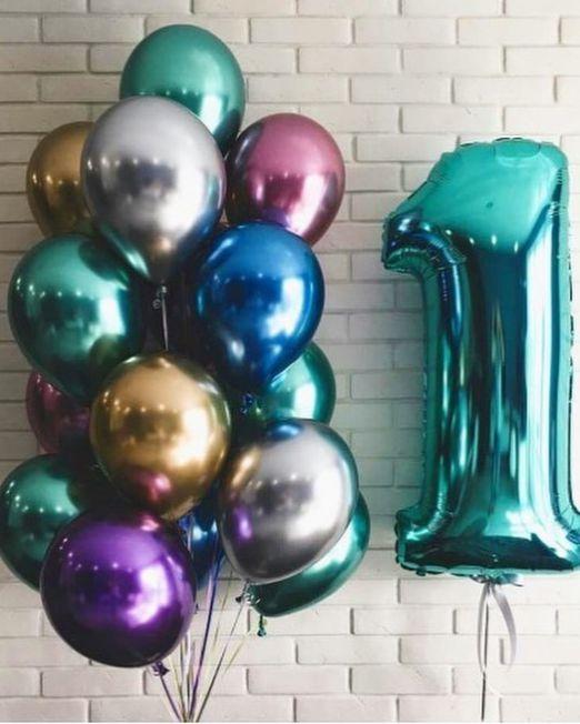 набор из 15 латексных металлизированных гелиевых шаров и цифра цвет ассорти