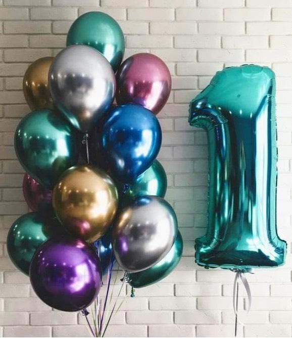 Набор из 15 латексных металлизированных шаров (цвет ассорти) и цифры — 553