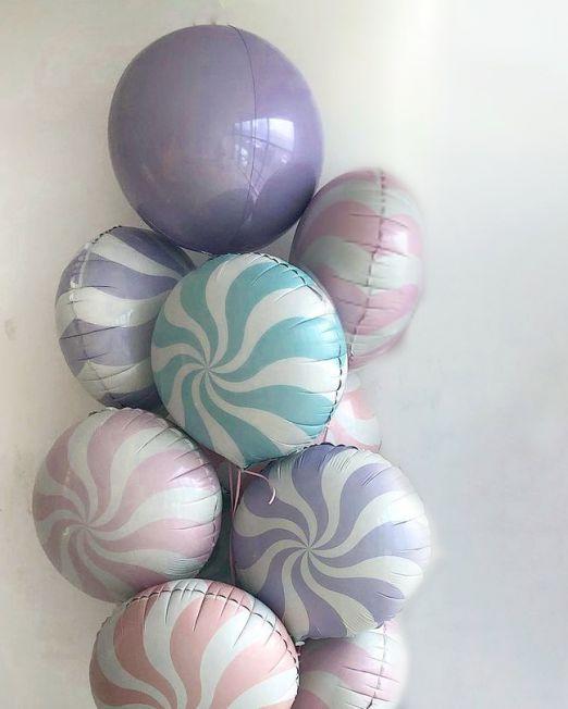 сет из 9 фольгированных шаров Леденец