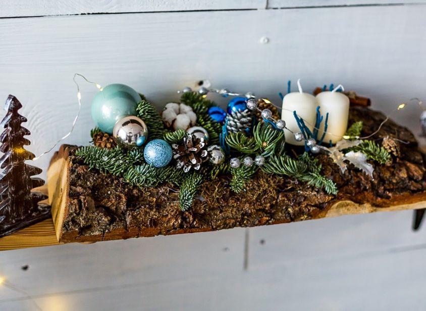 Композиция с елью, свечами и шарами — 561