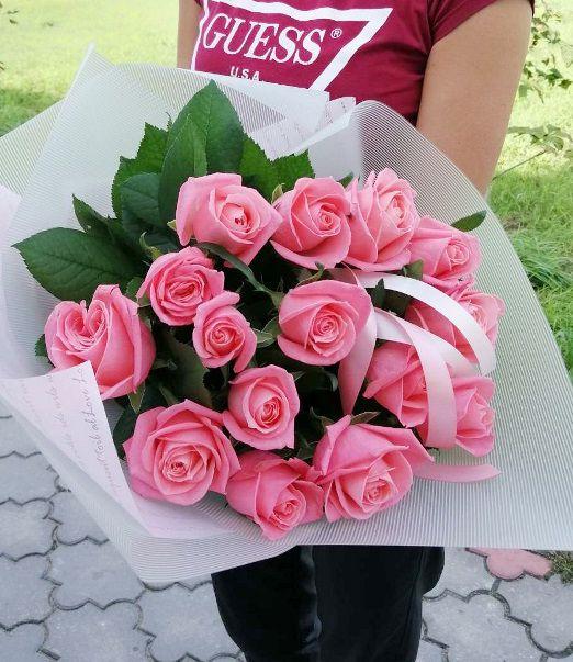 букет из 15 розовых роз Брест